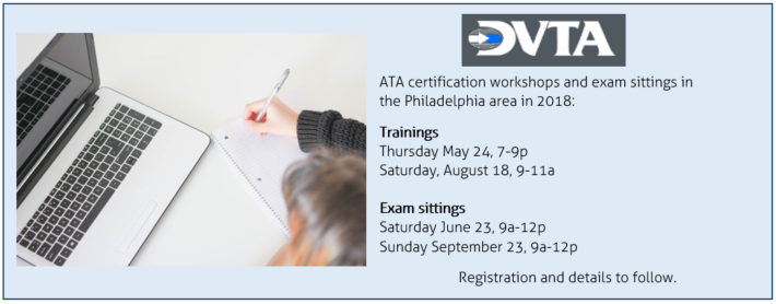 ATA Certification Exam Sittings and Workshops 2018